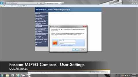 User Settings on MJPEG Foscam Ip Camera